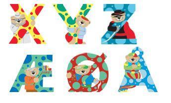 Flotte bokstaver i tre som man kan lime p? barneromsd?ren eller ...